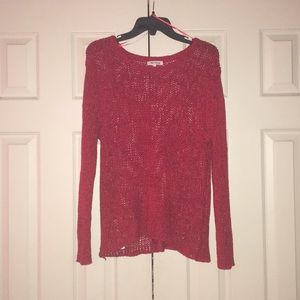 Red Open Knit Sweater
